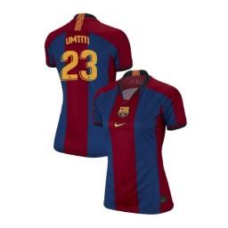 WOMEN Samuel Umtiti Barcelona Authentic El Clasico Blue Red Retro Jersey