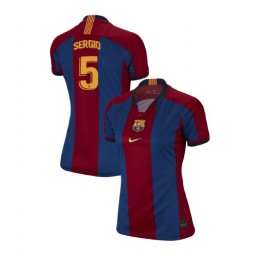 WOMEN Sergio Busquets Barcelona Authentic El Clasico Blue Red Retro Jersey