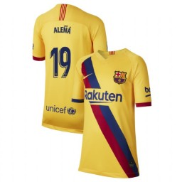 YOUTH 2019/20 Barcelona Replica Away Stadium #19 Carles Alena Yellow Jersey