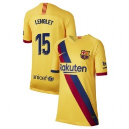 YOUTH 2019/20 Barcelona Authentic Away Stadium #15 Clement Lenglet Yellow Jersey