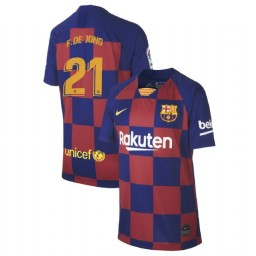 YOUTH 2019/20 Barcelona Authentic Home #21 Frenkie de Jong Blue Red Jersey