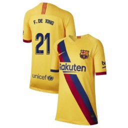 YOUTH 2019/20 Barcelona Authentic Away Stadium #21 Frenkie de Jong Yellow Jersey