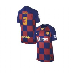 YOUTH 2019/20 Barcelona Authentic Home #3 Gerard Pique Blue Red Jersey