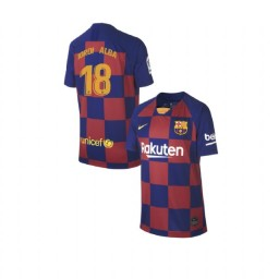 YOUTH 2019/20 Barcelona Replica Home #18 Jordi Alba Blue Red Jersey