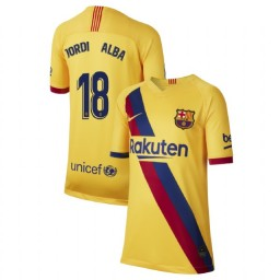 YOUTH 2019/20 Barcelona Authentic Away Stadium #18 Jordi Alba Yellow Jersey