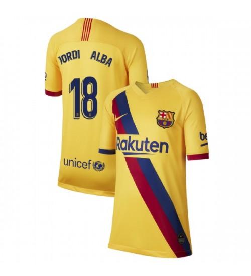 YOUTH 2019/20 Barcelona Replica Away Stadium #18 Jordi Alba Yellow Jersey