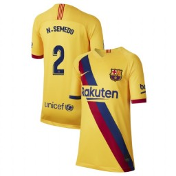 YOUTH 2019/20 Barcelona Authentic Away Stadium #2 Nelson Semedo Yellow Jersey