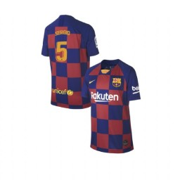 YOUTH 2019/20 Barcelona Replica Home #5 Sergio Busquets Blue Red Jersey