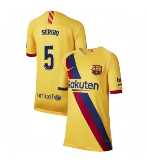 YOUTH 2019/20 Barcelona Authentic Away Stadium #5 Sergio Busquets Yellow Jersey