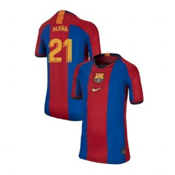 YOUTH Carles Alena Barcelona Authentic El Clasico Blue Red Retro Jersey