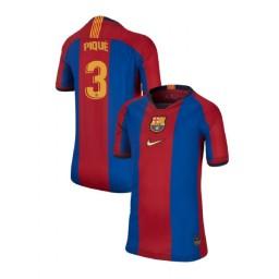 YOUTH Gerard Pique Barcelona Authentic El Clasico Blue Red Retro Jersey