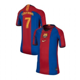 YOUTH Philippe Coutinho Barcelona Authentic El Clasico Blue Red Retro Jersey
