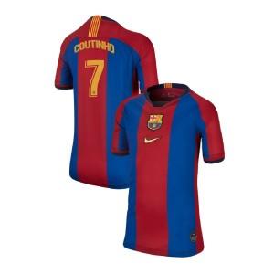 YOUTH Philippe Coutinho Barcelona Replica El Clasico Blue Red Retro Jersey