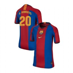 YOUTH Sergi Roberto Barcelona Authentic El Clasico Blue Red Retro Jersey