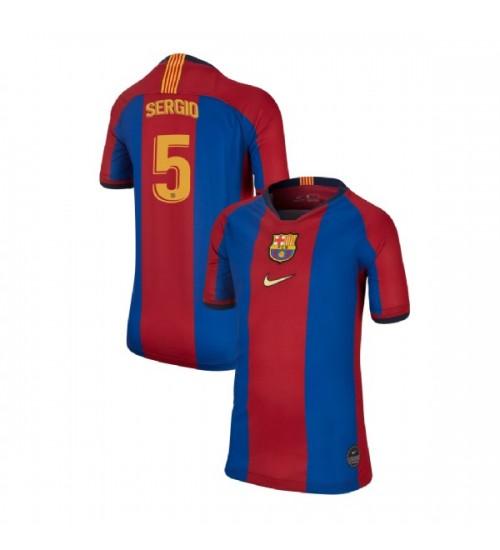 YOUTH Sergio Busquets Barcelona Replica El Clasico Blue Red Retro Jersey