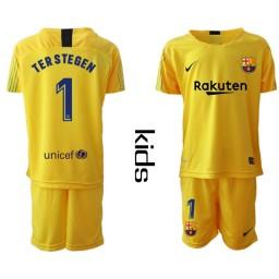YOUTH 2019/20 Barcelona Goalkeeper #1 TER STEGEN Yellow Jersey