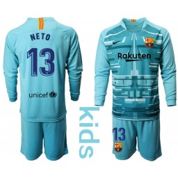 YOUTH 2019/20 Barcelona Goalkeeper #13 CILLESSEN Lake Blue Long Sleeve Jersey