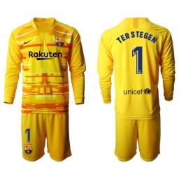 2019/20 Barcelona Goalkeeper #1 TER STEGEN Yellow Long Sleeve Jersey
