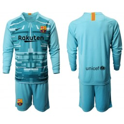 2019/20 Barcelona Goalkeeper Lake Blue Long Sleeve Goalkeeper Jersey