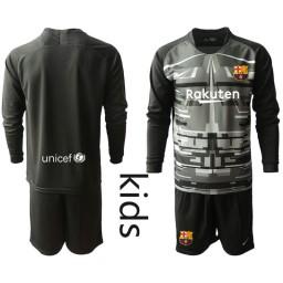 YOUTH 2019/20 Barcelona Goalkeeper Black Long Sleeve Goalkeeper Jersey