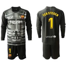 2019/20 Barcelona Goalkeeper #1 TER STEGEN Black Long Sleeve Jersey