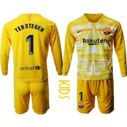 YOUTH 2019/20 Barcelona Goalkeeper #1 TER STEGEN Yellow Long Sleeve Jersey