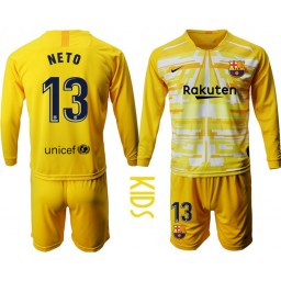 YOUTH 2019/20 Barcelona Goalkeeper #13 CILLESSEN Yellow Long Sleeve Jersey