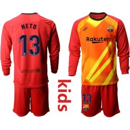 YOUTH 2019/20 Barcelona Goalkeeper #13 CILLESSEN Red Long Sleeve Jersey