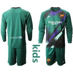 YOUTH 2019/20 Barcelona Goalkeeper Dark Green Long Sleeve Goalkeeper Jersey