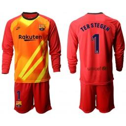2019/20 Barcelona Goalkeeper #1 TER STEGEN Red Long Sleeve Jersey