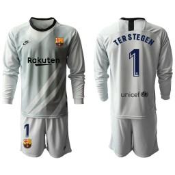 2019/20 Barcelona Goalkeeper #1 TER STEGEN Gray Long Sleeve Jersey