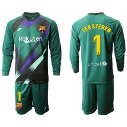 2019/20 Barcelona Goalkeeper #1 TER STEGEN Dark Green Long Sleeve Jersey