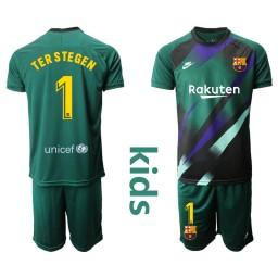 YOUTH 2019/20 Barcelona Goalkeeper #1 TER STEGEN Dark Green Jersey