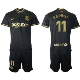 Youth 2020/21 Barcelona #11 Ousmane Dembele Black Authentic Away Jersey