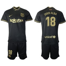 Youth 2020/21 Barcelona #18 Jordi Alba Black Authentic Away Jersey