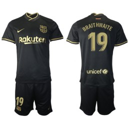 2020/21 Barcelona #19 Martin Braithwaite Black Authentic Away Jersey