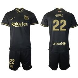 Womens 2020/21 Barcelona #22 Arturo Vidal Black Authentic Away Jersey