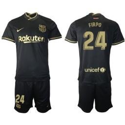 Womens 2020/21 Barcelona #24 Junior Firpo Black Authentic Away Jersey