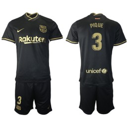 Womens 2020/21 Barcelona #3 Gerard Pique Black Replica Away Jersey
