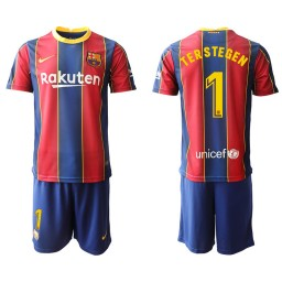 Youth 2020/21 Barcelona #1 TER STEGEN Blue Red Authentic Home Jersey