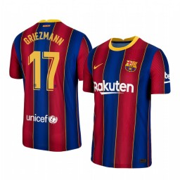 Youth 2020/21 Barcelona #17 Antoine Griezmann Blue Red Authentic Home Jersey