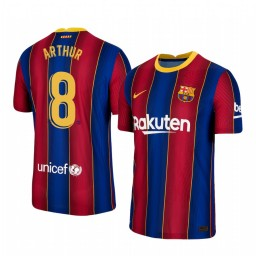 Youth 2020/21 Barcelona #8 Arthur Blue Red Authentic Home Jersey