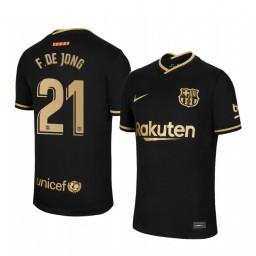 2020/21 Barcelona #21 F. DE JONG Black Authentic Away Jersey