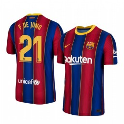 Youth 2020/21 Barcelona #21 F. DE JONG Blue Red Authentic Home Jersey