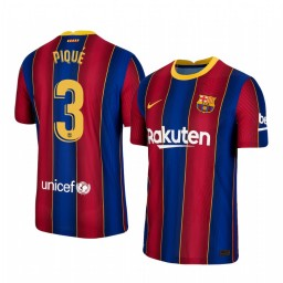 2020/21 Barcelona #3 Gerard Pique Blue Red Authentic Home Jersey