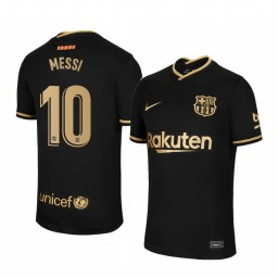 Youth 2020/21 Barcelona #10 Lionel Messi Black Replica Away Jersey