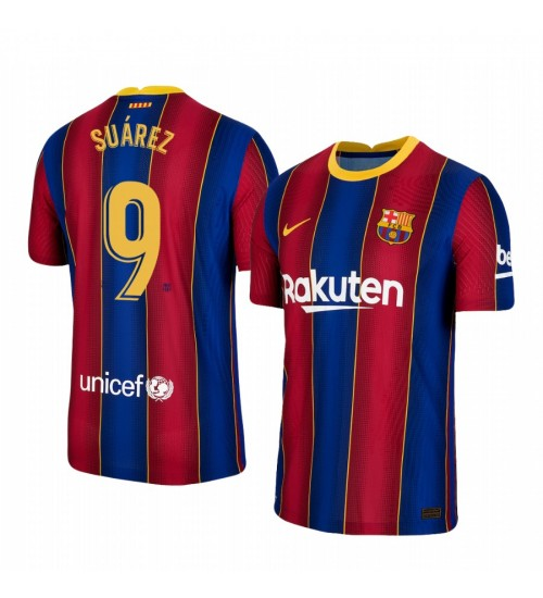 Youth 2020/21 Barcelona #9 Luis Suarez Blue Red Authentic Home Jersey