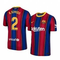 2020/21 Barcelona #2 Nelson Semedo Blue Red Authentic Home Jersey