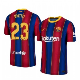 Youth 2020/21 Barcelona #23 Samuel Umtiti Blue Red Authentic Home Jersey