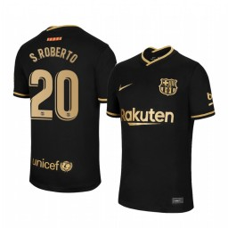 Youth 2020/21 Barcelona #20 S.Roberto Black Authentic Away Jersey
